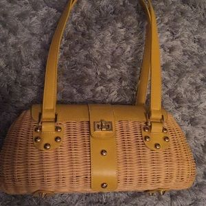 Vintage Etienne Aigner Woven Wicker Basket Bag